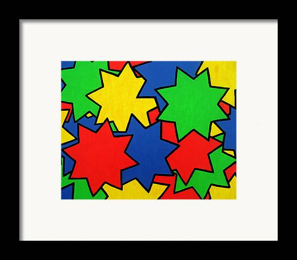 Stars Framed Print featuring the painting Starburst by Oliver Johnston