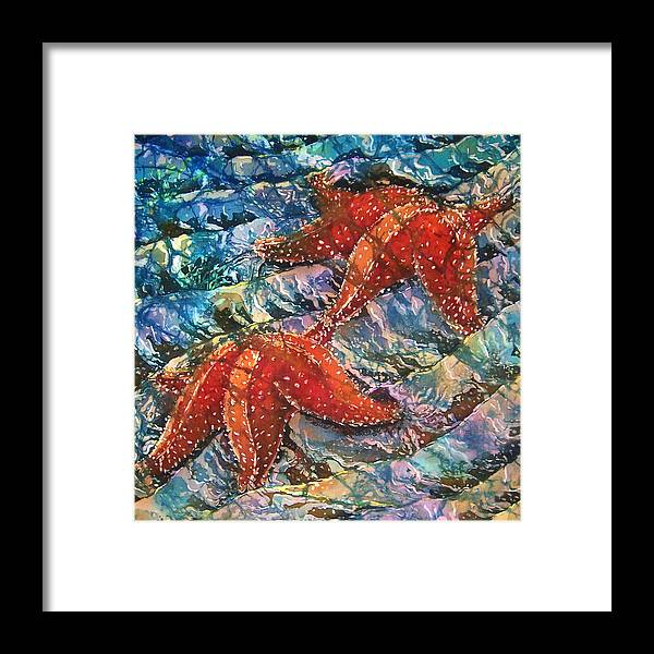 Starfish Framed Print featuring the painting Starfish 1 by Sue Duda