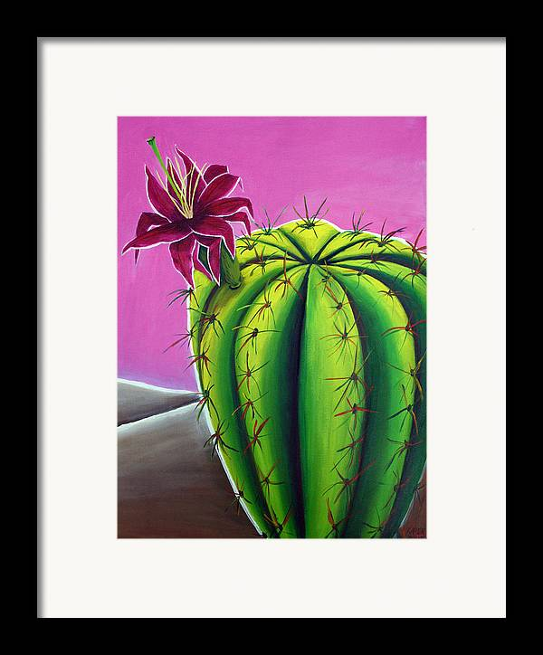 Cactus Framed Print featuring the painting Stargazer Cactus by Karen Aune