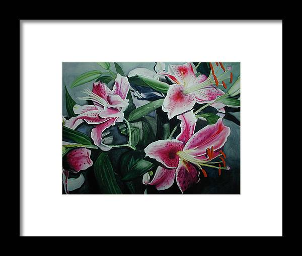 Flowers Framed Print featuring the painting Stargazers by Dwight Williams