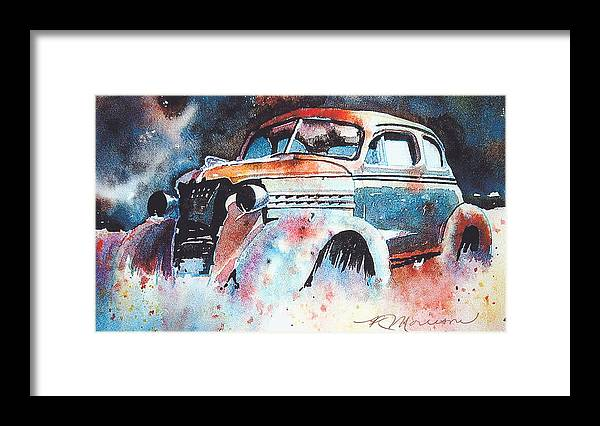 Chev Framed Print featuring the painting StarlightChevy by Ron Morrison