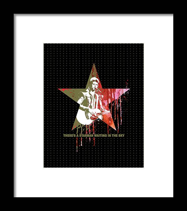 Jimi Framed Print featuring the mixed media DAVID BOWIE - STARMAN #black by Art Popop