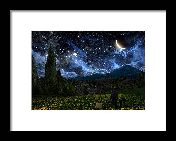 Van Gogh Framed Print featuring the digital art Starry Night by Alex Ruiz