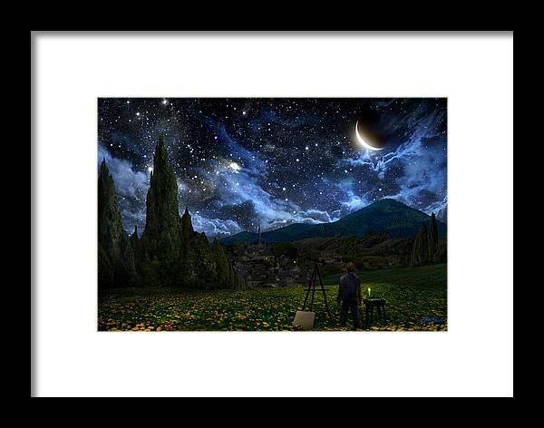 Van Gogh Framed Print featuring the digital art Starry Night by Alex Ruiz