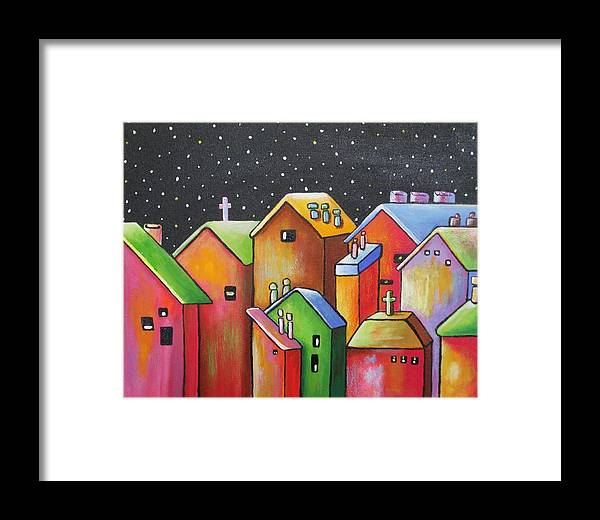 Landscape Framed Print featuring the painting Starry Night In The Little City 1 by Janet Telander