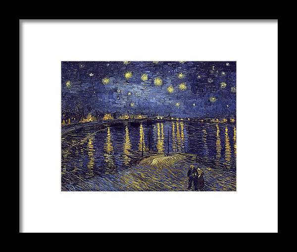 Vincent Van Gogh Framed Print featuring the painting Starry Night Over The Rhone by Van Gogh