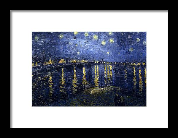 Starry Framed Print featuring the painting Starry Night Over The Rhone by Vincent Van Gogh