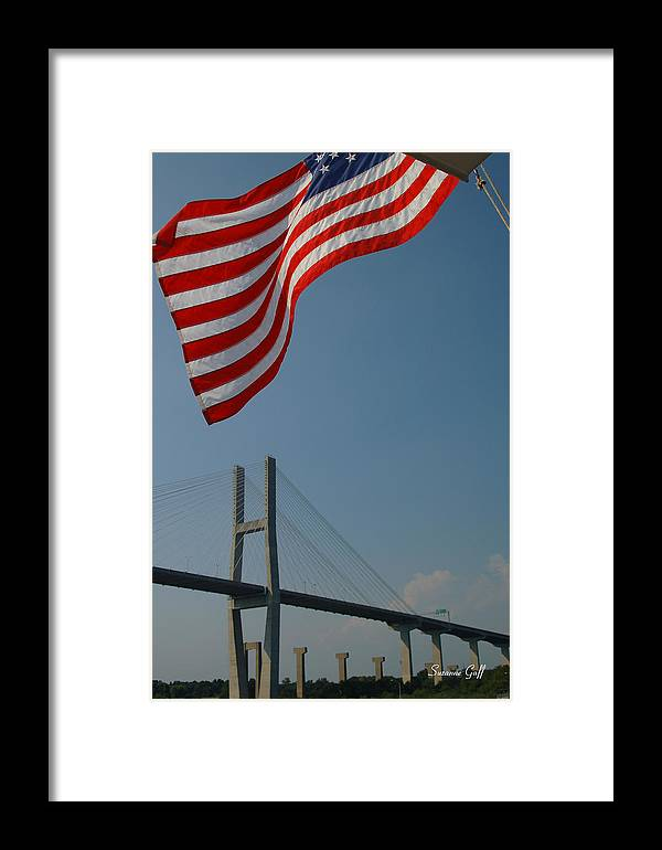 Flag Framed Print featuring the photograph Stars And Stripes In Savannah by Suzanne Gaff