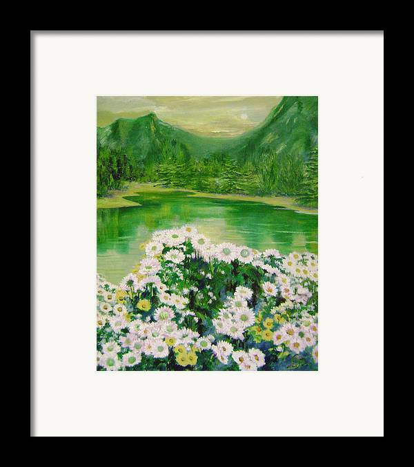 Floral Framed Print featuring the painting Stars By The River Side by Lian Zhen