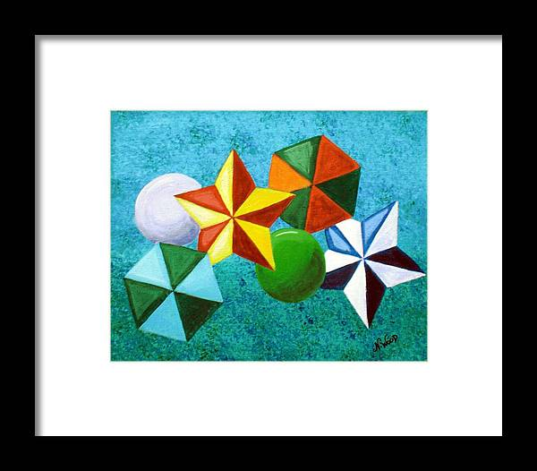 Stars Framed Print featuring the painting Stars Circles And Hexagons by Nancy Sisco