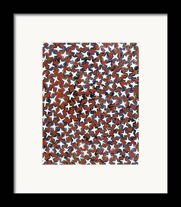 Abstract Stars White Red Pattern Framed Print featuring the painting Stars by Joan De Bot