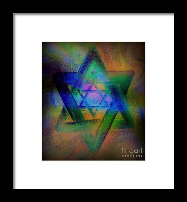 Religious Framed Print featuring the painting Stars Of David by Wbk