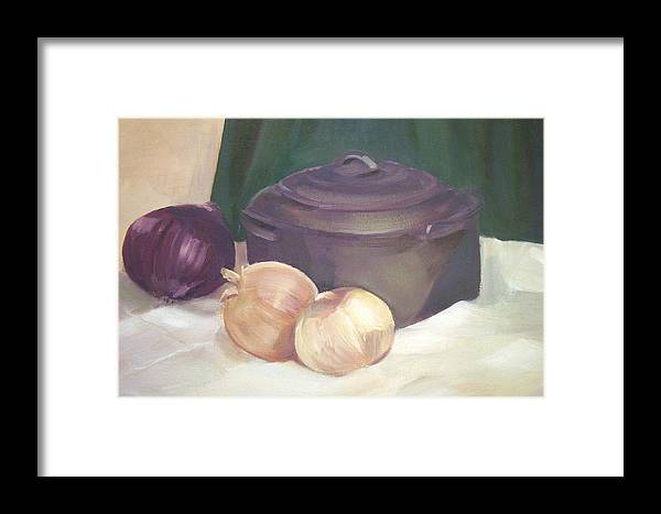 Still Life Framed Print featuring the painting Starting Stew by Jan Cline-Zimmerman