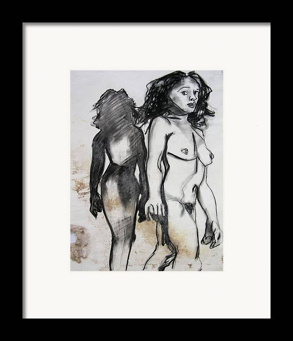 Charcoal Framed Print featuring the drawing Startled by Brad Wilson