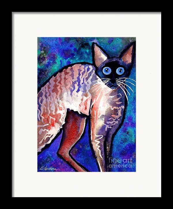 Cornish Rex Cat Painting Framed Print featuring the painting Startled Cornish Rex Cat by Svetlana Novikova