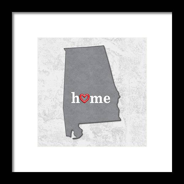 State Map Outline Alabama With Heart In Home Framed Print By Elaine