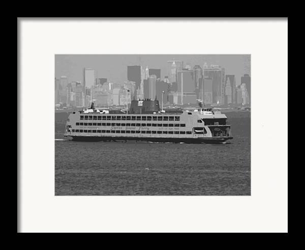 Staten Island Ferry Framed Print featuring the photograph Staten Island Ferry Bw16 by Scott Kelley