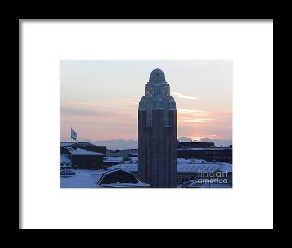 Helsinki Framed Print featuring the photograph Helsinki Station At Sunrise by Margaret Brooks