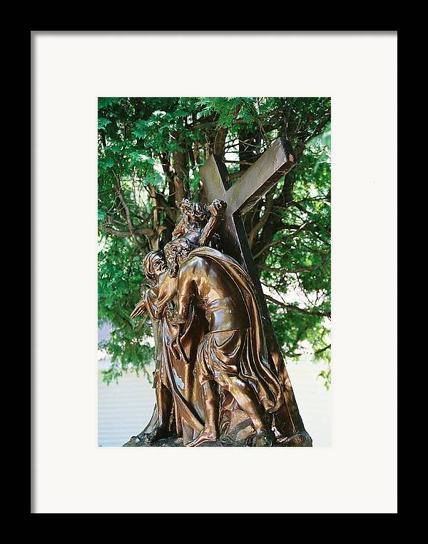 Religious Statue Framed Print featuring the photograph Station Of The Cross by Cheryl Vatcher-Martin