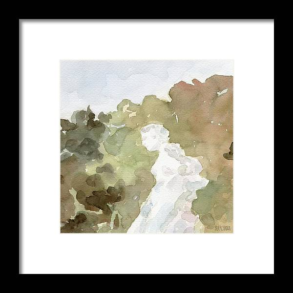 French Framed Print featuring the painting Statue of a Woman Watercolor Paintings of France by Beverly Brown