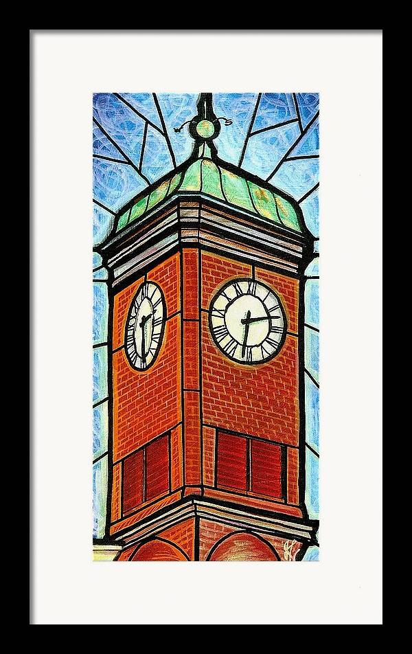 Clocks Framed Print featuring the painting Staunton Clock Tower Landmark by Jim Harris