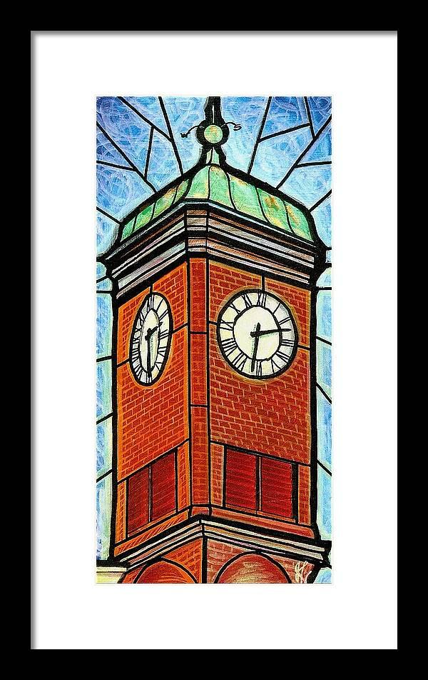 Clocks Framed Print featuring the painting Staunton Clock Tower Landmark by Jim Harris
