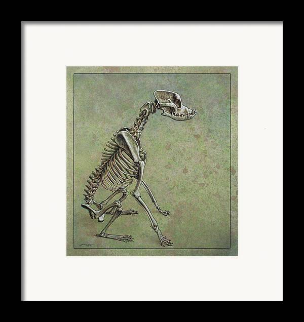 Dog Framed Print featuring the drawing Stay... by James W Johnson
