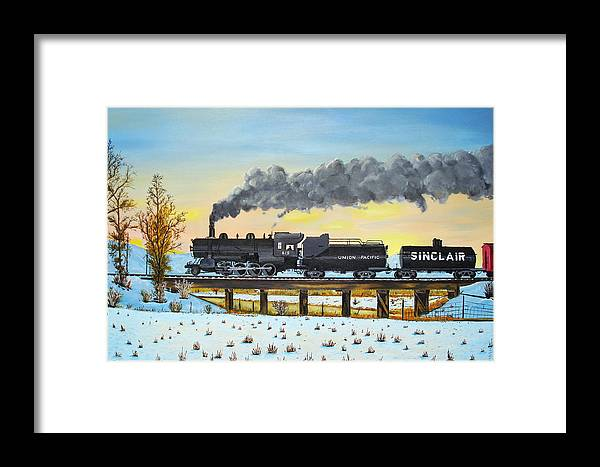 Trains-steamtrains-paintings-landscape Trains -landscapes Skies- Locomotives Bridges Framed Print featuring the painting Steam Train One From Mike Massee Photo by Stephen Ponting