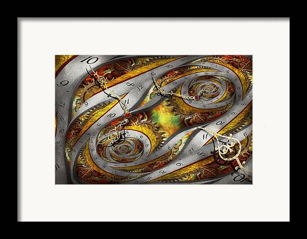 Steampunk Framed Print featuring the photograph Steampunk - Spiral - Space Time Continuum by Mike Savad