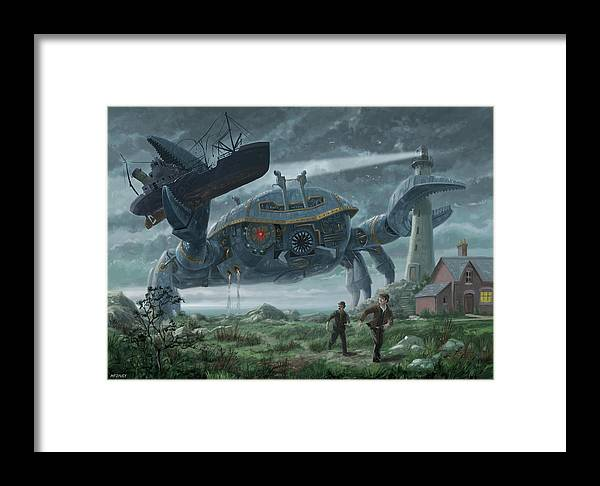 Crab Framed Print featuring the digital art Steampunk Giant Crab Attacks Lighthouse by Martin Davey
