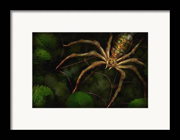Steampunk Framed Print featuring the photograph Steampunk - Spider - Arachnia Automata by Mike Savad