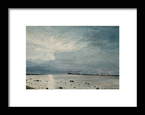 Landscape Framed Print featuring the painting Steel Morning In Rock Garden by Lynn ACourt