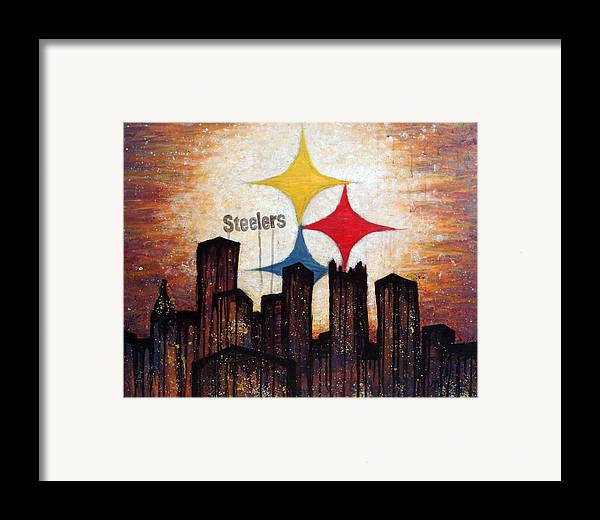 Steelers Framed Print featuring the painting Steelers. by Mark M Mellon