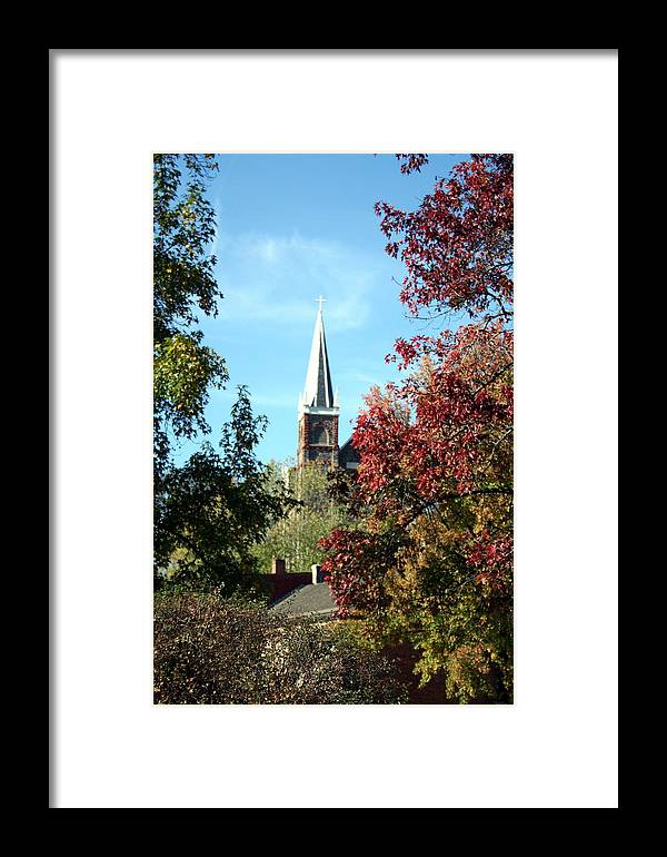 Church Framed Print featuring the photograph Steeple At Harprs Ferry by Rebecca Smith