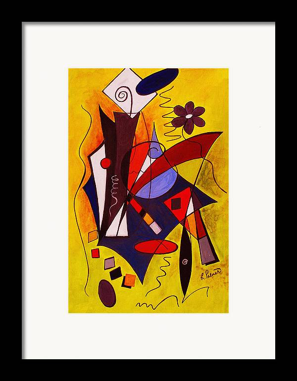 Abstract Framed Print featuring the painting Step Lively Now by Ruth Palmer