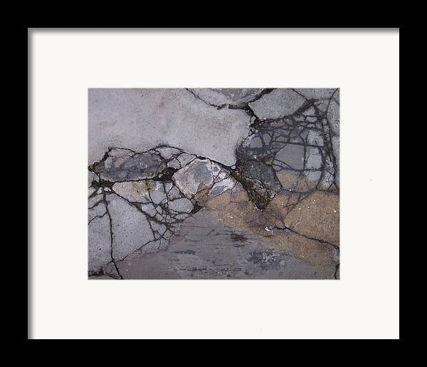 Abstract City Sidewalk Urban Chicago Industrial Framed Print featuring the photograph Step On A Crack 2 by Anna Villarreal Garbis