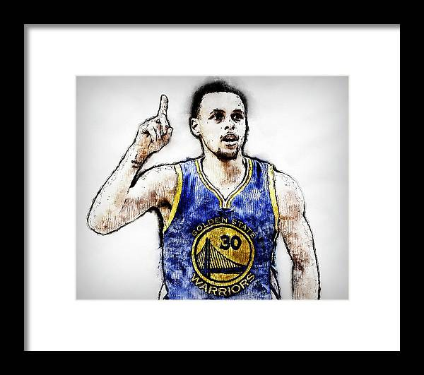 Steph Framed Print featuring the painting Steph Curry, Golden State Warriors - 20 by Andrea Mazzocchetti