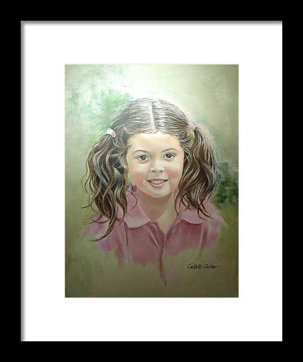 Children Framed Print featuring the painting Stephanie by JoAnne Castelli-Castor