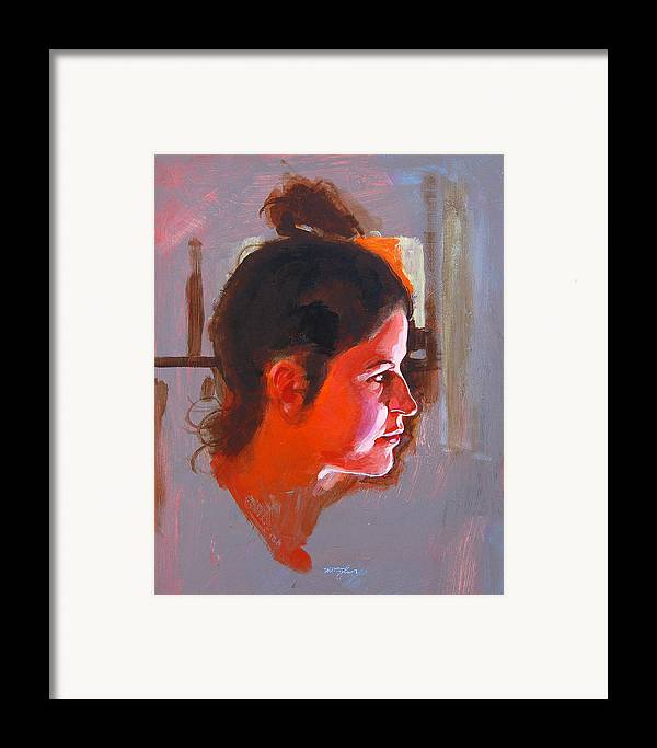 Portrait Framed Print featuring the painting Stephanie by John Tartaglione