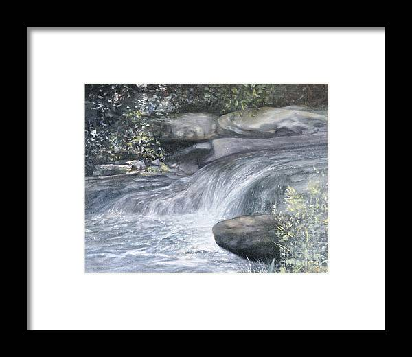 Oil Paintings Of Water Falls Framed Print featuring the painting Stepping Stones by Penny Neimiller