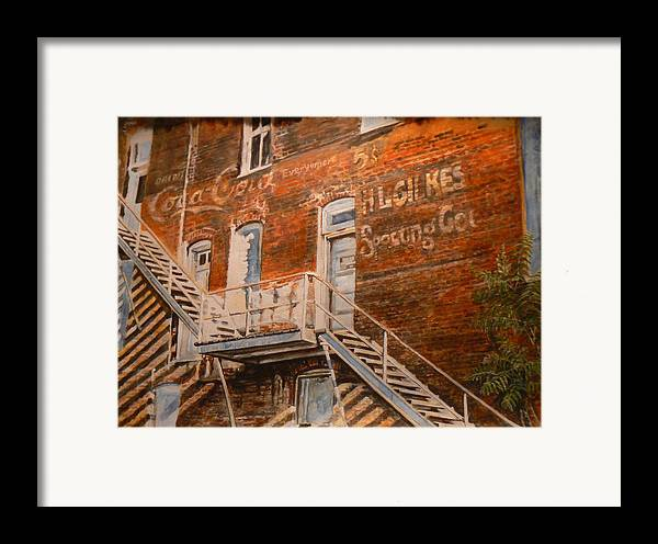 Urban Framed Print featuring the painting Steps In Time by Thomas Akers