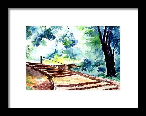Landscape Framed Print featuring the painting Steps To Eternity by Anil Nene