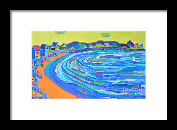 Staircases Framed Print featuring the painting Steps to Plaice Cove Beach NH by Debra Bretton Robinson