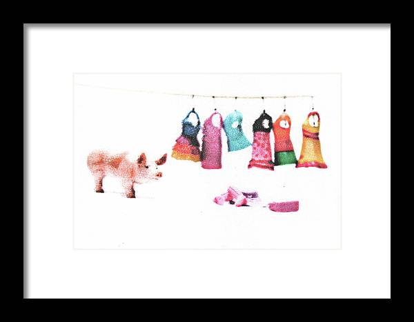 Pig Framed Print featuring the mixed media Stereotype by Kimberly Lavon