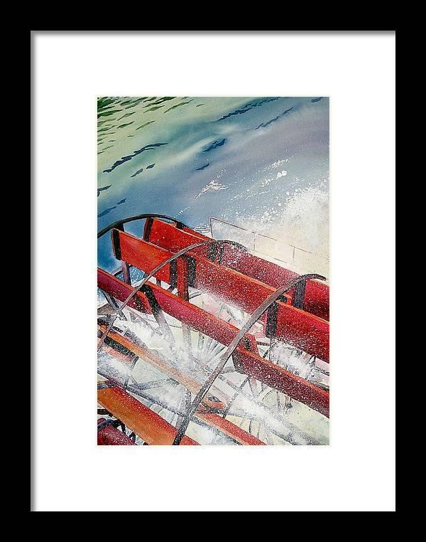 Paddlewheeler Framed Print featuring the painting Sternwheeler Splash by Karen Stark