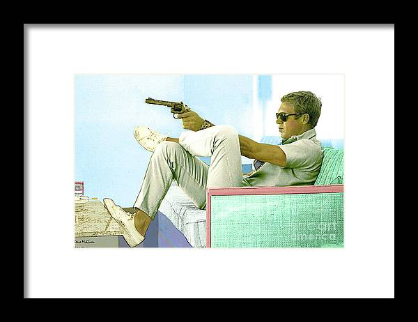 Steve Mcqueen Framed Print featuring the mixed media Steve McQueen, Colt revolver, Palm Springs, CA by Thomas Pollart