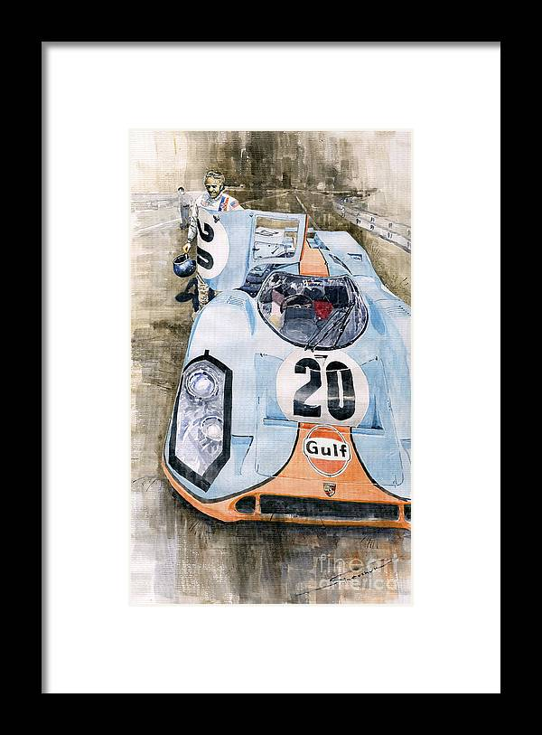 Watercolor Framed Print featuring the painting Steve McQueens Porsche 917K Le Mans by Yuriy Shevchuk