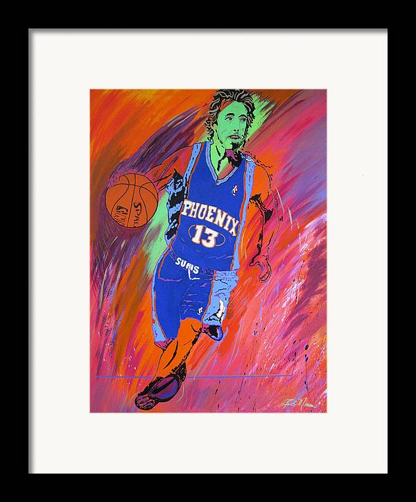 Steve Nash Paintings Framed Print featuring the painting Steve Nash-vision Of Scoring by Bill Manson