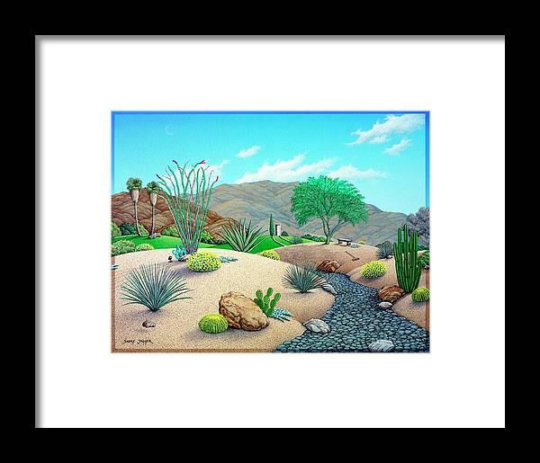 Desert Framed Print featuring the painting Steves Yard by Snake Jagger