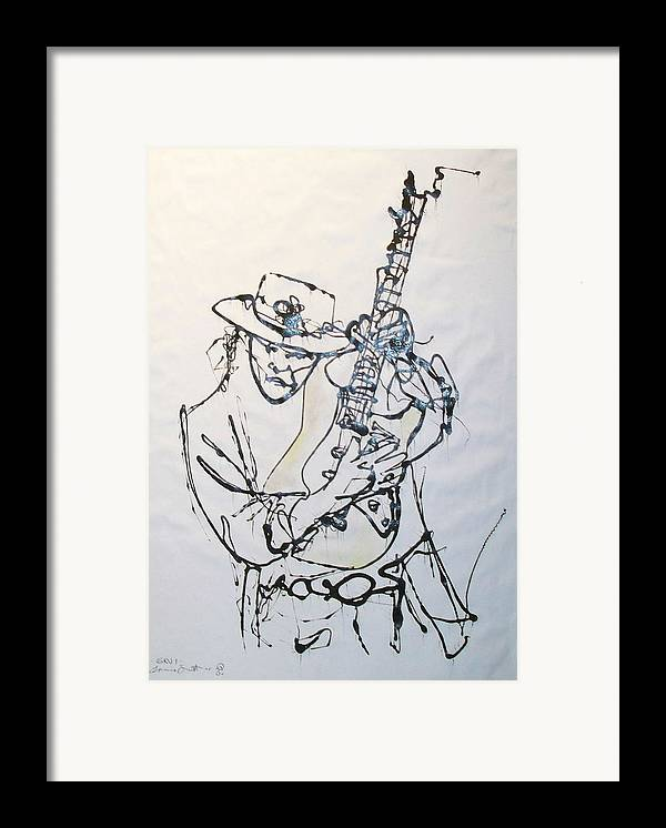 Abstract Framed Print featuring the drawing Stevie by Ernie Scott- Dust Rising Studios